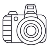 Professional photo camera vector line icon, sign, illustration on background, editable strokes. Professional photo camera vector line icon, sign, illustration on royalty free illustration