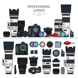 Professional photo cameras. Thin line flat design of the professional photo cameras on the shelf. Icons for web design and photographic studios. Photographer kit Stock Images