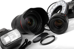 Professional photo equipment on white background Royalty Free Stock Image
