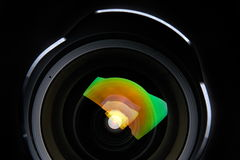 Professional photo lens. On black background Stock Photo