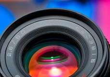 Professional photo lens closeup Stock Photography