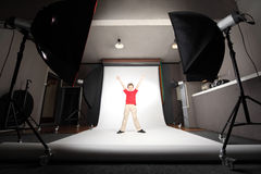 Professional photo studio boy standing Stock Photography