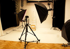 Professional photo studio and equipment Royalty Free Stock Photo