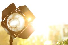Professional photo studio lighting equipment on blurred background royalty free stock images