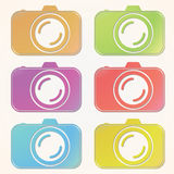Professional photocamera cut out color icons set on paper background.  Royalty Free Stock Image