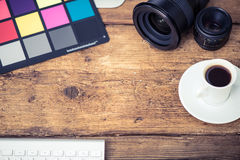 Professional photograper desk Royalty Free Stock Image