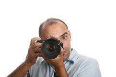Professional Photographer. In white background Stock Photos
