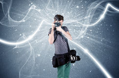 Professional photographer with dynamic lines Stock Image