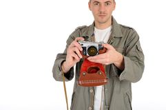 professional photographer with film camera Stock Image