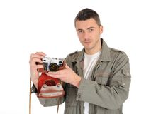 Professional photographer with film camera Royalty Free Stock Images