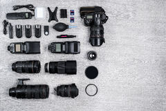 Professional photographer idea with accessories background Royalty Free Stock Image