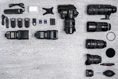 Professional photographer idea with accessories background Royalty Free Stock Images