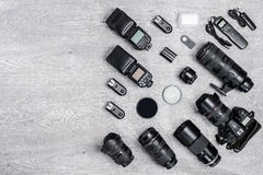 Professional photographer idea with accessories background Royalty Free Stock Photo