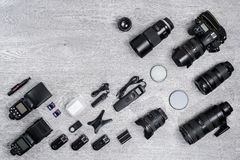 Professional photographer idea with accessories background Stock Image