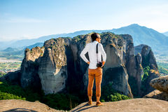 Professional photographer on the mountains Stock Images