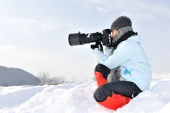 Professional photographer outdoor Royalty Free Stock Photo