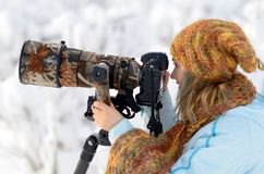 Professional photographer outdoor Royalty Free Stock Photography