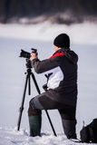 Professional photographer outdoor Royalty Free Stock Image