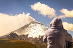 Professional photographer posing a powerful volcano explosion Stock Photography