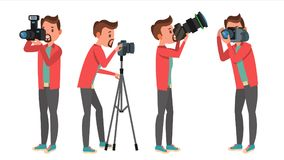 Professional Photographer Vector. Male In Different Poses. Lights And Cameras. Creative Occupation. Profession. Tripod Stock Images