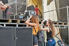 Fans enjoy Vulgar Molly live. Atlas Weekend Festival, Kiev, Ukraine. Royalty Free Stock Photos