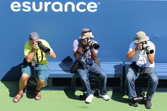 Professional photographers at US Open 2014 at Billie Jean King National Tennis Center Royalty Free Stock Images