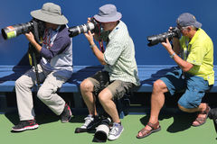 Professional photographers at US Open 2014 at Billie Jean King National Tennis Center Stock Photography