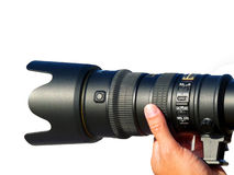 Professional Photography. Professional Photographer taking a photo with a telephone lens Royalty Free Stock Photos