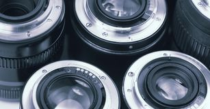 Professional photography lenses and macro Royalty Free Stock Photo