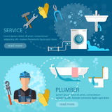 Professional plumber banner plumbing repair service. Vector illustration Royalty Free Stock Photos