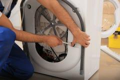 Free Professional Plumber Repairing Broken Washing Machine, Closeup Royalty Free Stock Photo - 170967455