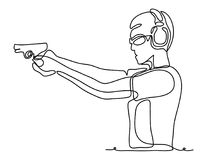 Professional policeman special force trained battleground officer shooting with gun glock pistol at the enemy target. Continuous line drawing. Vector Stock Photos