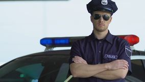 Professional policeman in sunglasses standing near car, district security. Stock footage stock video footage
