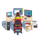 Professional programmer working. Writing code at his big desk with multiple displays and laptop computer. Flat style color modern vector illustration Royalty Free Stock Photography