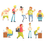 Professional Programmers Funny Characters Set. Of Graphic Design Cool Geometric Style  Drawings On White Background Stock Photos