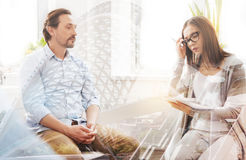 Professional psychologist having an individual session with a troubled man stock image