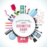 Professional quality cosmetics shop stylish vector logo Royalty Free Stock Images