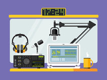 Professional radio station studio with microphones. Professional radio station studio with microphone and other equipment on table flat vector illustration Royalty Free Stock Images