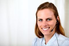 Professional receptionist smiling Stock Photography