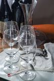 Professional red wine tasting event with high quality wine glass. Es and wine accessories close up Royalty Free Stock Image