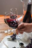 Professional red wine tasting event with high quality wine glass. Es and wine accessories close up Stock Photos
