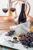 Professional red wine tasting event with high quality wine glass. Es and wine accessories close up Royalty Free Stock Images
