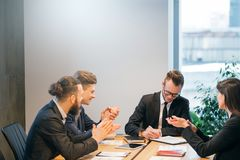 Professional relations business partners contract stock photo