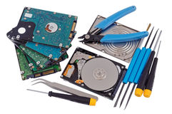 Professional repair of  hard drives concept Stock Image