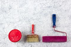 Professional repairing implements for decorating and building renovation set on the wooden background. Plastering tools stock image