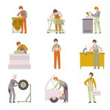 Professional Repairmen Set, Male Auto Mechanics Characters in Uniform Working In Car Repair Service Vector Illustration. On White Background vector illustration