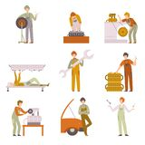Professional Repairmen Working In Car Repair Service Set, Male Auto Mechanics Characters in Uniform Repairing Car. Engines, Tires Vector Illustration on White vector illustration