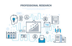 Professional research. Business planning, strategy, monitoring, analysis, systems development, education. Professional research. Business planning and business Royalty Free Stock Images