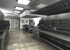 Professional restaurangkök - töm Arkivbilder