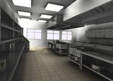 Professional restaurant kitchen interior Stock Images